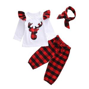Baby Girl Clothes Set manica lunga autunno Neonato Body Deer + plaid rosso Pant + fascia sveglie insiemi della ragazza Cotone Outfit