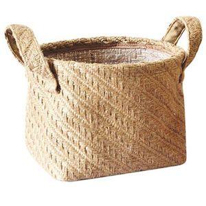 Woven Storage Basket Hemp Rope Flower Pot Dirty Clothes Laundry Hamper With Handles Office Desktop Sundries Organizer Box(Dark C