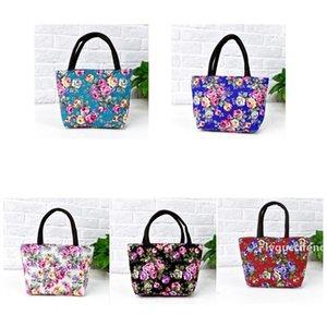 2020 5style ethnic Single Handbag Shoulder Canvas Bag Flower Women Reusable Portable Shopping Bags lunch bags T2D5066