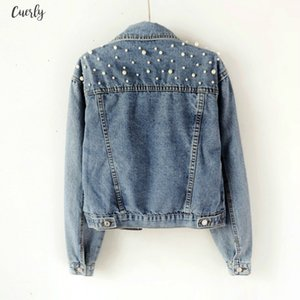 Spring 2020 Pearl Beading Crop Denim Jackets For Women 5Xl Casual Jeans Bomber Jacket Long Sleeve Denim Korean Plus Size