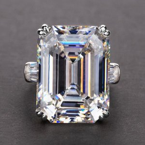 Jóias de luxo única real prata esterlina 925 Emerald Cut Grande rosa Sapphire CZ Promise Partido Diamond Princess mulheres anel de casamento banda