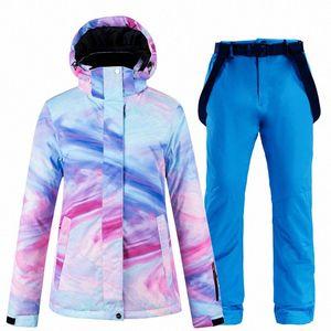 New color thick warm ski suit women's waterproof windproof ski suit and snowboard women's winter streetwear wijp#