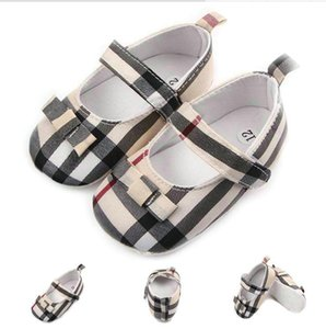 Baby Shoes Newborn Infant Boy Girl Shoes First Walker Sofe Sole Princess Bowknot Grid Crib Shoes