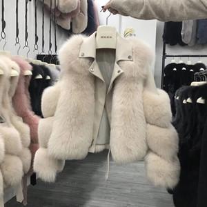 Veste en cuir femmes manteau de fourrure Femme de moto Mannequin cuir Pardessus femmes Veste en fourrure
