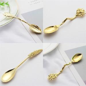Chapado en oro de la cucharón árboles de coco rama de la hoja de la planta metal de la cuchara de talla de cucharas de cocina Accesorios de Café Postre C2 2 2SD