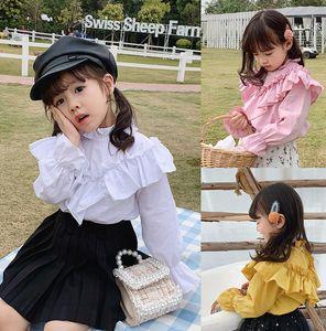 Fall new Girls ruffle long sleeve shirts children lace falbala princess tops kids cotton clothing pink yellow white A3665