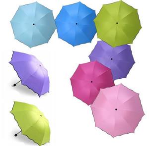 100pcs / lot parapluie anti-UV parapluie pare-soleil Magic Umbrella Dome Fleur Portable 3 Écran solaire plié antipoussière parapluies LL50
