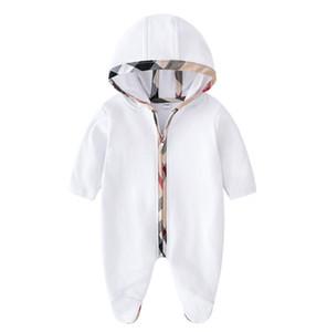 Baby Kids Romper Burbon Boys Jumpsuits à capuche Plaid Toddler Girl Patch Lattice Longue manches longues Vêtements Nouveau-né Coton Coton Diaper P0052