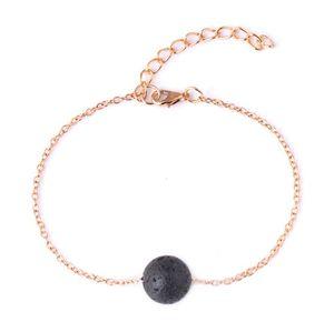 Fashion 13mm Lava-rock Bead Chain Bracelets Aromatherapy Essential Oil Diffuser Bracelets Natural Black Lava Charm Bracelets 30 pcs