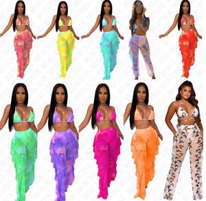 Tie impression numérique maille concepteur des femmes de couleur de teinture maillot de bain push up top dos nu soutien-gorge et pantalon 2 pièces bikini ensemble sexy de la D7614