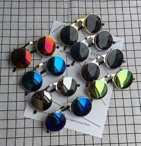 Flip Up SteampunkDesigner Sunglasses Men Round Vintage Mens Designer Sunglass Fashion Glasses hot sale hip hop sunglass