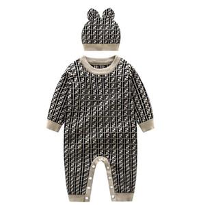 Ребенок Новорожденный вязаный свитер с длинным рукавом Romper Outfit хлопка Комбинезон с теплым Hat Набор подходит Infant Baby Boy Девочка комбинезон