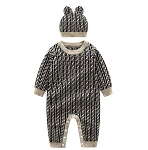 Bebê recém-nascido camisola de malha de manga comprida Romper Outfit Jumpsuit algodão com chapéu morno Set ajuste infantil Baby Boy menina Jumpsuit