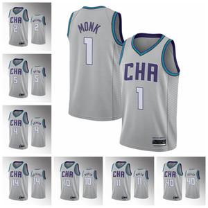Malik # 1 Monk CharlotteFrelonsHommes 2019/20 Chauté Jersey Swingman Jersey Grey Basketball Jerseys