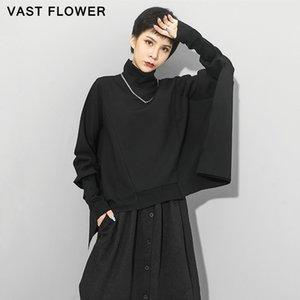 Oversized Women Sweatshirt Pullover Hoodie Fashion Turtleneck Batwing Long Sleeve Black Tops Loose Clothes Autumn Winter 2020