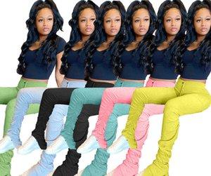 Designer Women leggings Flare Pants women Stacked Joggers Pleated Sweatpants High Waist Trousers Split Bell Bottom Pencil Pants free DHL
