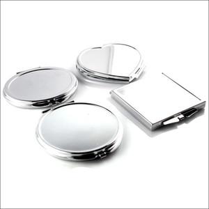 은빛 손거울 원형 광장 타원 심장 허영 조명 화장 거울 접이식 손 거울 화장품 장식 2 3BL (C2)