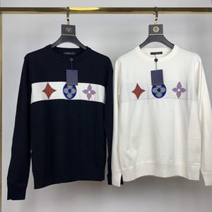Осень и зима новой lwomen дизайнер свитер мода классические одежды хлопчатобумажной ткань очень тяжелых размер резьбовой шеи M-2XL пара свитеров