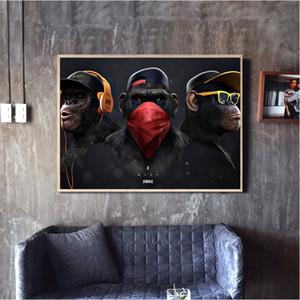 Grande maschera animale Tessuto stampato dipinto Moderno divertente Pensiero della scimmia con Wall cuffie Art Poster per Living Room Decor