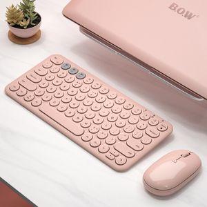 Bluetooth Silent Mini Gaming Keyboard Mouse Combo Круглая кнопка Magic Wireless Keyboard Mouse Kit для iPad iPhone Phone HP ноутбук