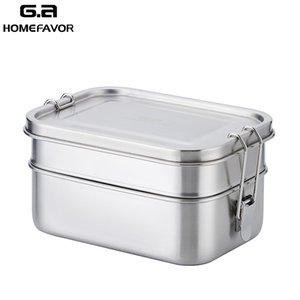 Lunch Bento Box 304 Stainless Steel Food Container Double Layer Large Fruit Cake Snack Box 1400ml Storage Box Bin Tableware T200709