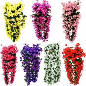 Violet Green Plant Artificial Flower Decor Simulation Wall Hanging Basket Flower Orchid Fake Flower Home Decor Party Supplies