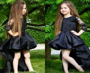 Hot Sale Black Hi-lo Flower Girl Dress Jewel Neck Long Sleeves Appliqued Lace Elegant Ruched Satin Pageant Gown Birthday Gown Custom Made