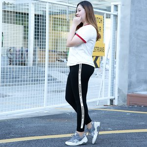 stLEI 2019 autumn plus tight Trousers tight pants fat plus size fat mm leggings women wear high waist casual printing thin ankle-length pant