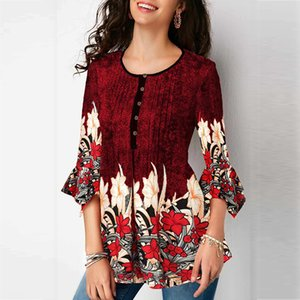 2019 New Summer Print Short Sleeve Blouses Shirts For Women Casual Loose Ladies Tops Female Blouse Plus Size Clothing 5XL Y200622