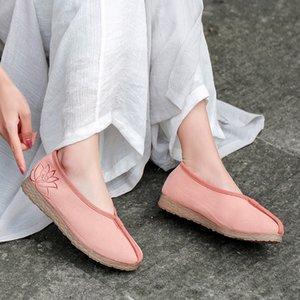 YourSeason Женщины вышивают Хлопок Ткань ретро Flats 2020 осени лето дама Повседневных ручных Сжатых цветов лоферов