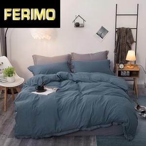 Pure color washed cotton Bedding Set 3pcs quilt cover Pillowcases comforter bedding sets bed linen bed set Bedclothes 7 size