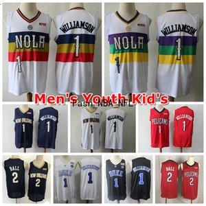 2020 Nouvelle Cousu 1 ZionWilliamson OrléansPélicans NCAA Hommes jeunes enfants 1 2 Williamson # Lonzo balle Swingman Basketball Jersey