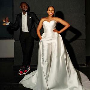Очаровательные Угряды свадьбы свадебные свадебные платья с съемным поездом без бретелек шеи линия свадебные платья для свадебных платьев