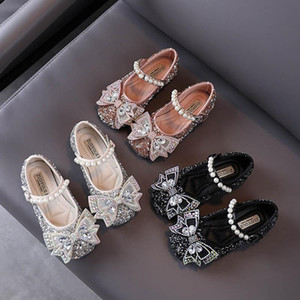 Fashion sequin girls shoes pearl princess high-heeled shoe bowknot crystal party dress shoe toddler shoes baby shoes retail