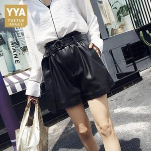 Italian Designer Summer High Waist Shorts Women Punk Belted Loose Wide Leg Short Feminino Luxury Sheepskin Real Leather Trousers