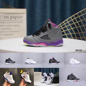 Çocuklar J5s Siyah Sneakers Üzüm V Trainer Fresh Prince Uluslararası Uçuş Bel-Air Beyaz Çimento Basketbol Ayakkabıları Çocuk Boy Girls Ayakkabı