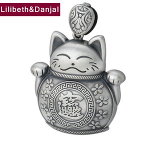 2020 Creative Pendant 100% S999 Sterling silver Jewelry Men Women Lucky Fortune Cat Necklace Pendant Charm Jewelry making P99