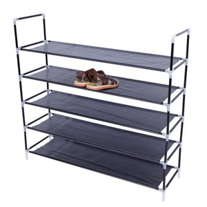 Easy to Install Home Shoe Storage Cabinet Simple Assembly 5 Tiers Non-woven Fabric Shoe Rack with Handle Black Portable Shoe Rack
