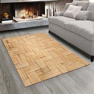 Else Brown Bamboo 3D Design Imprimer Antiderapant Tapis Salon Chambre Microfibre moderne Lavable Tapis Mat 4xhr #