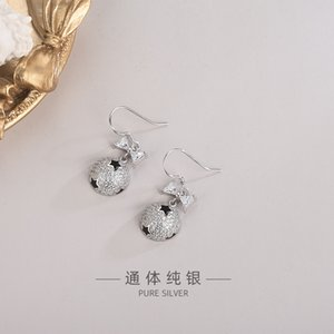S925 Sterling Silver Korean-Style Diamond Zircon Bow Earrings Drop Oil Five-Pointed Star Planet Ear Hook Light Luxury Niche Design