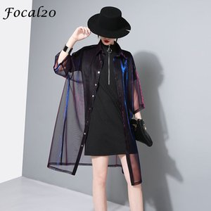 Focal20 Streetwear Mesh Gradient Laser Women Sunproof Blouse Shirt Summer Oversize Sun Protection See Through Blouse Y200622