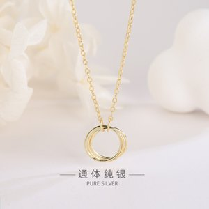 S925 Sterling Silver Japanese and Korean Style Smooth Circle Three-Ring Necklace Cool Simple and Exquisite Ring Clavicle Chain a Generation