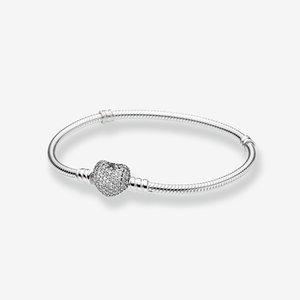 CZ diamante Pave amor casamento coração mulheres pulseira de presente com a caixa original para Pandora 925 Sterling Silver cobra corrente Encantos Pulseiras