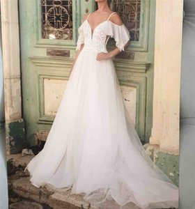 Simple Country Wedding Dress 2020 Sexy Deep V Neck A Line Bride Dress Glitter Appliques Lace Backless Women Bridal Gowns Custom Made