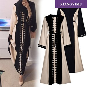 Factory direct f8849-2 Muslim embroidered Abaya dress elegant lace fashion dress sells well