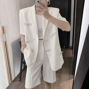 [EWQ] 2020 Estate strass bowknot stile manica corta donne di alta qualità Blzer francese semplice Giacca donna cappotti bianco dolce