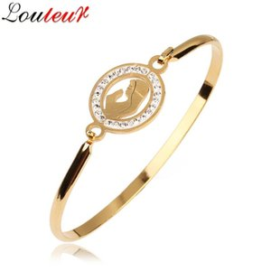 LOULEUR New Gold-color Stainless Steel Bracelets Bangles for Women Men Paved Crystal Bangles Bracelets Fashion Jewelry