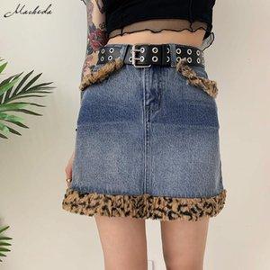 Macheda Summer Fashion Patchwork Jeans Skirt Women Streetwear Cowboy Slim Denim Button Pockets High Waist All-Match Mini Skirts