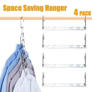 4 Pcs Folding Shirts Coat Clothes Hanger Holders Save Space Non-slip Clothing Organizer Practical Racks Hangers for Clothes T200605