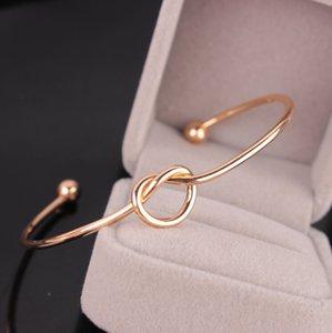 Prata Tone Copper expansível Abrir fio Bangles Por amor nó Cuff pulseiras para crianças e adultos